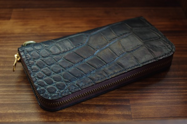Round Zip Wallet Crocodile